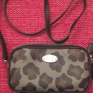 Coach Animal Print Double Zip Crossbody